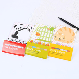 Wholesale Cats Bookmarks - Wholesale- 2 PCS Kawaii Creative Scrapbooking Animal Cat Panda Sticker Bookmark Tab Flags Memo Book Marker Sticky Notes Office Supplies