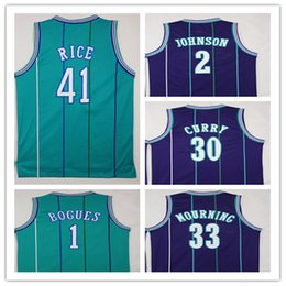 Wholesale White Spandex Purple - NCAA High Quality Embroidery1 Tyrone Muggsy Bogues Jerseys Green Purple 2 Larry Johnson 30 Dell Curry 33 Alonzo Mourning Shirt Uniform 41 Gl