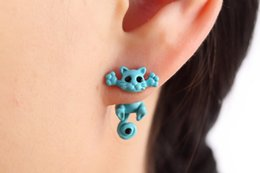 Wholesale Cute Animal Stud Earrings - 2018 New Multiple Color Classic Fashion Kitten Animal brincos Jewelry Cute Cat Stud Earrings For Women Girls Dropshipping