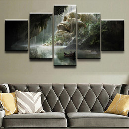 Wholesale painting boats - 5 Pieces Boat Cave River Skull Waterfall Canvas Painting Home Decor Wall Art Living Room Print Pictures Painting Decor Artwork