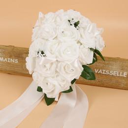 broches de rhinestone para los ramos de la boda Rebajas Ramos de novia de la boda de seda de alta calidad con flores hechas a mano llamativas Crystal Rhinestone Rose suministros ramo de la novia con broche CPA1575