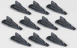 Wholesale shark antennas - 10pcs lot Universal Car Roof Mini Carbon Fiber Shark Fin Auto Stickers Not Real Antenna Car-styling Decoration Accessories
