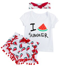 Wholesale Swing Sets Babies - 2018 Spring Baby Girl Clothes Sets Summer Outfits Hairand 3Pcs Short Sleeve Swing Top Shorts Clothing Set for Children 1-4T