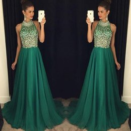 Wholesale Emerald Green Color Dresses - High Neck Crystal Prom Dresses Green Color Beading Sequins Crystal A Line Chiffon Floor Length Emerald Green Evening Dresses Gowns