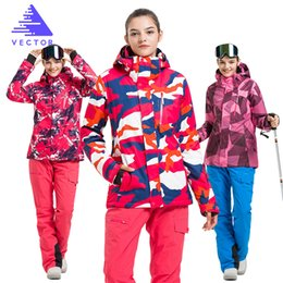 Wholesale- VECTOR Brand Ski Suit Women Warm Waterproof Skiing Suits Set Ladies  Outdoor Sport Winter Ski Jackets and Pants Snowboard ladies white ski  jackets ... dae9d5228
