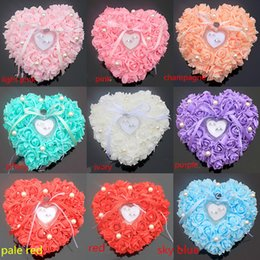 Wholesale blue flower pillows - 2018 Newest Wedding Ring Pillows Cheap Sale Rose Flowers Ring Boxes Wedding Supplier Favors