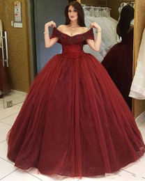Classic Dark Red Ball Gown Quinceanera Dresses Off Shoulder Sleeveless Beading Pageant Dress Tulle Floor Length Vestidos 15 Anos