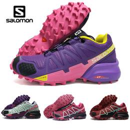 Wholesale Женщины Salomon Speed Cross IV CS темно красный розовый фиолетовый открытый обувь дышащая женская легкая атлетика сетки Фехтование обувь спортивные кроссовки