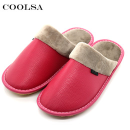 16ade9b91 Coolsa New Winter Women Leather Slippers Soft PU Short Plush Oxford Flat  Non-slip Home Slippers Waterproof Keep Warm Flip Flops discount new men  leather ...