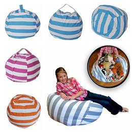 2019 tierbaby matten Streifen Bohnensack 18 Zoll Sitzsack Kinder Schlafzimmer gefüllt Tierpuppen Veranstalter Plüschtiere Taschen Baby Spielmatte 4 Farben OOA4353 rabatt tierbaby matten