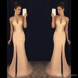 Wholesale African Lace Wears - 2017 sexy long prom dresses mermaid African princess side split sleeveless formal evening wear gowns with lace evening dresses