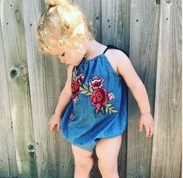 Wholesale Denim Baby Rompers - INS Toddler kids denim Rompers Baby girls peony embroideried jumpsuit 2018 new Summer Infants suspender cowboy jumpsuit blue C2715