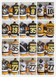 кофейный трикотаж Скидка CCM новые мужчины сшитые Pittsburgh Penguins #7 MULLEN/#8 RECCHI/#10 FRANCIS/#35 BARRASSO/77 Коффи желтый белый черный CCM хоккейные майки