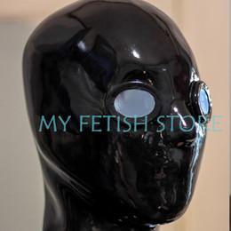 Usura di gomma completa online-(DM872) Maschera in lattice 100% naturale a testa piena in lattice con cappuccio in gomma con lenti per gli occhi soffocare Maschera fetish wear sexy