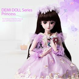 Ragazza giocattolo viola online-UCanaan 1/3 Girl BJD Doll con vestito viola 60 CM SD Dolls 19 Ball Jointed Corpo in silicone per bambini Giocattoli fai da te MAX regali