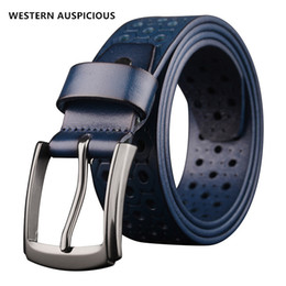 Wholesale Coloured Belts Leather - WESTERN AUSPICIOUS Belt Male Leather Red Blue Yellow Coffee Black Colour Famous Brand Men Belts Alloy Buckle Cow Leather Strap