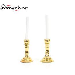 Dollhouse Miniature 1:12 Gold Single Candlestick Mini Candle Holders Toys HICA