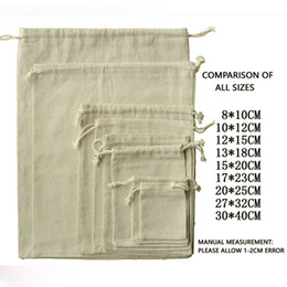 Wholesale Jewelry Fabric Packaging - 100pcs Jewelry Drawable Cotton Muslin Bags Wedding Gift Bags Pouches Retail Drawstring Pouch Jewelry Packaging Christmas decor