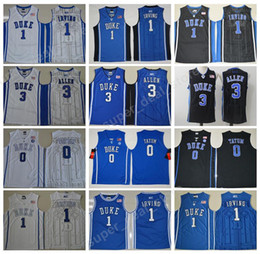 Wholesale Duke Blue - College Duke Blue Devils Jerseys Basketball 0 Jayson Tatum 1 Kyrie Irving Jersey Men Sale 3 Grayson Allen Blue Black White Stitched Quality