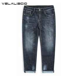 Ganga jeans elástica on-line-VELALISCIO Calças De Brim Dos Homens Mais Gordura Para Aumentar O Código de Alta Elastic Feet Calças Jeans Masculina Maré Da Marca de Inverno calças