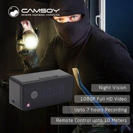 2019 relógio da câmera de vídeo T7 Relógio Câmera Configuração de Alarme 720 P HD H.264 IP Mini Kamera Night Vision Relógio de Mesa Câmera de Vídeo Cam Mini DV DVR Camcorder relógio da câmera de vídeo barato