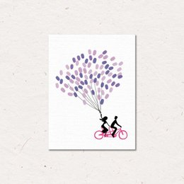 Wholesale Couple Wall Painting - MYT DIY Couple By Bike Custom Fingerprint Picture Wedding Souvenir Guest Book Signature Picture Canvas Painting No Frame Sweet Wall Ornament