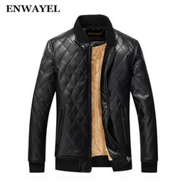 Wholesale Classic Wool Coats Men - Wholesale- ENWAYEL 2017 Autumn Winter High Quality Soft PU Male Leather Jacket Men Casual Thick Warm Velvet Classic Mens Jackets Coat J009