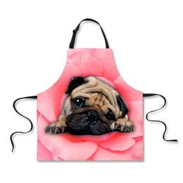 Wholesale Sleeveless Aprons - FORUDESIGNS Cook Kitchen Apron New Fashion Women Aprons 3D Cat Dog Printing Clean Apron Men Girl Sleeveless Antifouling