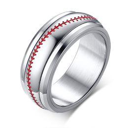 Grabado gratuito de 8 mm. Red Stiching Baseball Sport Spinner Rings en acero inoxidable. desde fabricantes