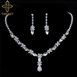 Hochzeits- & Verlobungs-schmuck Treazy Wunderschöne Diamante Strass Kristall Braut 3 Stücke Set Halsketten-ohrringe Crown Tiara Braut Hochzeit Prom Schmuck Set