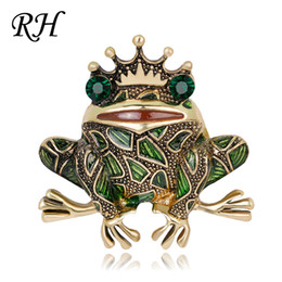 Grandi spille strass animali online-Vintage Big Metal Strass Rana Spilla per le donne Vestire sciarpa Collare Pins Corsage Large Animal Brooch Pins Badges Jewelry