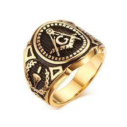 2019 anello massonico oro 2018 Hot Vintage Acciaio Inossidabile 316L Uomini Anello Oro Gratuito Mason Massoneria Masonico Maschio Hiphop Anello di Marca Maschio Gioielli Punk Regalo anello massonico oro economici
