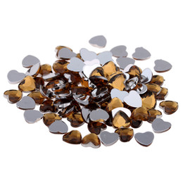 Wholesale Coffee Stickers - Coffee color Craft Art DIY Heart Gems Shiny Flat Facets Normal colors Acrylic Rhinestone Strass Nail Stickers