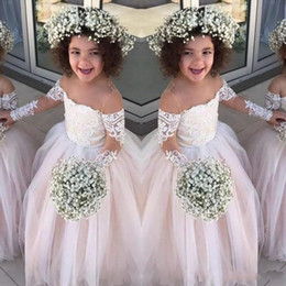 Wholesale Long Christening Gowns For Baby Girls - Lace Sheer Long Sleeves Little Girls Pageant Gowns Tulle Ball Gown Flower Girl Dresses For Wedding Baby Birthday Party Dress Cheap