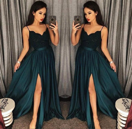 Wholesale Elegant Dress Top - 2018 Elegant Evening Gowns A-Line Blackish Green High Split Cutout Side Slit Lace Top Sexy Arabic Sweep Train Formal Party Prom Dresses