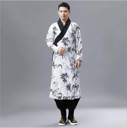 Neues china antiken online-Neue Ankunft ethnische Kleidung Herbst Bambusblatt Muster Hanfu Retro chinesischen Stil Herren Robe gedruckt Kragen China nationalen alten Kostüm