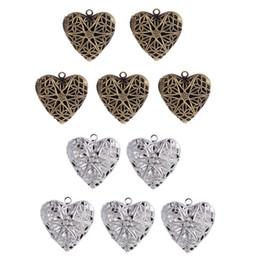10 Parça Bronz Gümüş Renk Kalp Şekli Fotoğraf Madalyon Telkari Charm Kolye supplier silver filigree heart nereden gümüş telkari kalp tedarikçiler