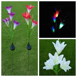 Wholesale plastic outdoor plants - Solar Power Flower LED Light Garden Solar Lamp Yard Decorative Lawn Lamp Outdoor Lighting 4 Head Lily DDA318