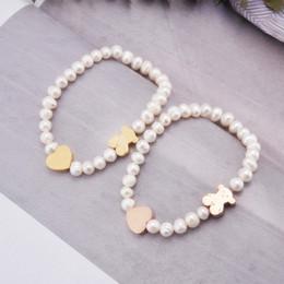 Wholesale Elastic Bracelet String - High Quality Stainless Steel Heart Charms Elastic Strings Shell White Pearls Bear Pendent Bracelets Women Bangle Bracelet
