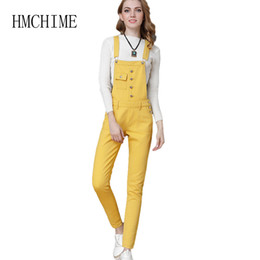 11aedc9137b Plus Size S- 4XL Cowboy Denim Women Overalls Pants Pocket Button Front  Female Strap Jeans Solid Push Up Button Pocket Jean Mujer