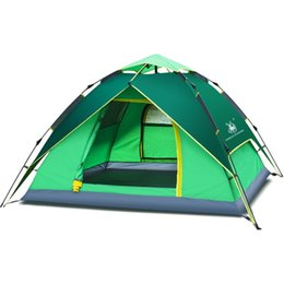 Водонепроницаемая ветрозащитная палатка онлайн-Outdoor Hiking Camping Tent 3-4 person Tents Hydraulic Automatic Windproof Waterproof Double Layer Tent