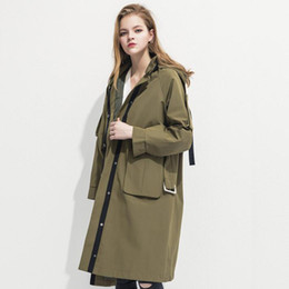 aa90afb5b70 Trench Coat for Women 2018 Fashion Spring Autumn High quality Hooded Long  Coat Women s Windbreaker Loose Plus size Clothes