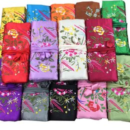 jewelry rolls Coupons - Chinese Wind Silk Multifunctional Jewelry Organizer Pouches 3 Zipper Bag Ring Bar Silk Embroidery Flower Bird Travel Roll Bag