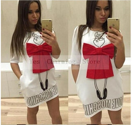 2018 Estate Cartoon Lettera Carattere Stampa Red Bow Dress Casual O-Collo  manica corta Abiti Abiti Moda donne allentate Dress Plus Size XL sconti le  donne ... 62a5683e5c7