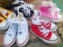 Argentina 2018 dorp envío Boygirl niños zapatos de lona de los niños lindos zapatos deportivos de ocio bajo alto superior de goma inferior 7 colores tamaño 24-34 cheap girls sport shoes cute Suministro