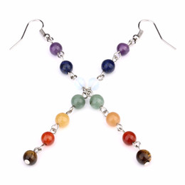Wholesale Beads For Hoop Earrings - Wholesale- 7pcs Ntural Stone Beads Hoop Earrings Purple Opal Purple Crystal Quartz Earrings Statement Good Luck Earring For Women