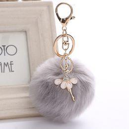 Wholesale Fake Gold Chains - ZOEBER Gold Key Chain Pom Pom Key Rings Fake Rabbit Fur Ball KeyChain Pompom Angel Girl Fourrure Pompon Women Bag Charms Jewelry