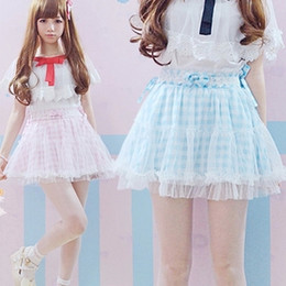 Wholesale Girls Tied Skirt - 2016 Summer Plaid Pink Blue bow tie Cute Japanese Lace skirt short mini Lolita Lovely Young Girls Skirts fashion Kawaii skirts