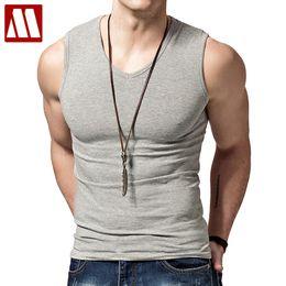 Wholesale Tight Tank Top Undershirt - Wholesale- 2017 Summer Men's V -neck Sleeveless Vest Male Solid Color Cotton Vests Wide Shoulder Tight Fitness Backing Undershirt Tank Tops