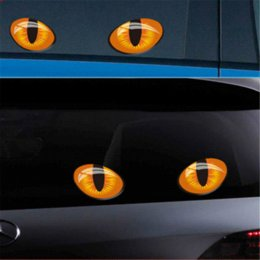 Wholesale rearview car mirror decal - 2pcs 12*10cm Cute Simulation Cat Eyes Car Stickers 3D Vinyl Decal for Rearview Mirror Car Head Engine Cover Windows Decoration